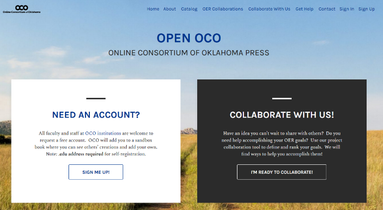 The OPEN OCO homepage allows users to sign up for an account or explore collaboration opportunities.