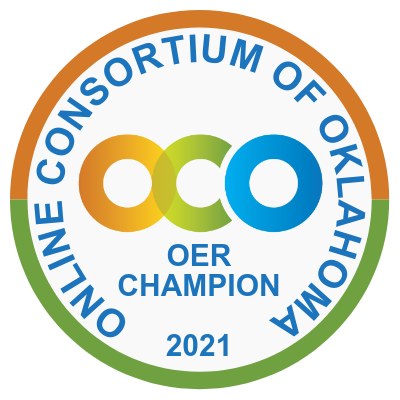 Only Consortium of Oklahoma OER Champion 2021